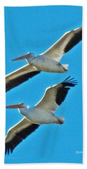 Two White Pelicans Hand Towel