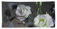 Bath Towel featuring the photograph Two White Roses by Jeremy Hayden