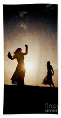 Two Women Dancing At Sunset Bath Towel