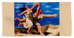 Two Women Running On The Beach Hand Towel