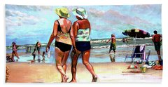 Bath Towel featuring the painting Two Women Walking On The Beach by Stan Esson