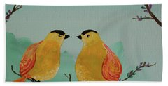 Two Yellow Chickadees Hand Towel