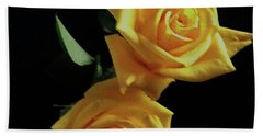 Two Yellow Roses Hand Towel by Rita Brown