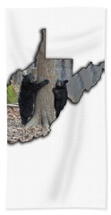 Bath Towel featuring the photograph Two Young Black Bear Standing By Tree by Dan Friend
