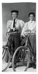 Two Young Ladies With Their Bicycles Circa 1895 Bath Towel