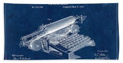 Type Writing Machine Patent From 1896 - Blue Hand Towel