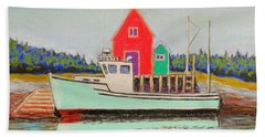 Typical Fishing Vessel Nova Scotia  Bath Towel by Rae  Smith