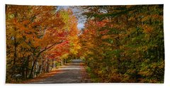 Typical Vermont Dirve - Fall Foliage Bath Towel