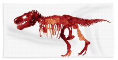 Tyrannosaurus Rex Skeleton Poster, T Rex Watercolor Painting, Red Orange Animal World Art Print Hand Towel