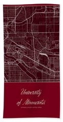 U Of M Street Map - University Of Minnesota Minneapolis Map Hand Towel by Jurq Studio