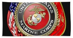 U. S. Marine Corps U S M C Emblem On Black Bath Towel
