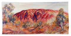 Hand Towel featuring the painting Uluru, Central Australia, by Ryn Shell