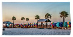 Bath Towel featuring the photograph Umbrella Windbreaks At Clearwater Florida. by Brian Tarr