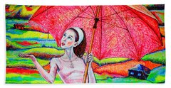 Hand Towel featuring the painting Umbrella.girl by Viktor Lazarev