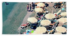Hand Towel featuring the photograph Umbrellas On The Beach - Nerja by Mary Machare