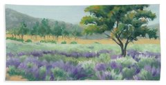 Hand Towel featuring the painting Under Blue Skies In Lavender Fields by Sandy Fisher