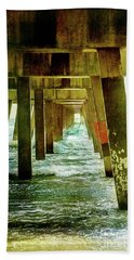 Hand Towel featuring the photograph Under Pier Vintage by Linda Olsen