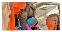 Under The Elephant - Narmada Temple At Arkantak India Bath Towel