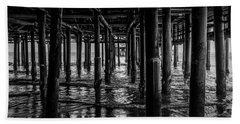 Under The Pier - Black And White Bath Towel