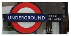 Underground Sign London Bath Towel