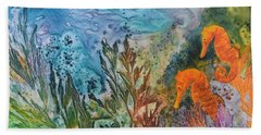 Hand Towel featuring the painting Undersea Garden by Nancy Jolley