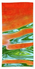 Undulating Orange Green Bath Towel
