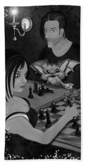 Unexpected Company - Black And White Fantasy Art Bath Towel