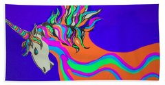 Unicorn For Candy Bath Towel by Erika Chamberlin