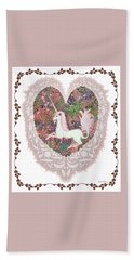 Hand Towel featuring the digital art Unicorn In A Pink Heart by Lise Winne
