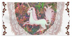 Unicorn In A Pink Heart Bath Towel