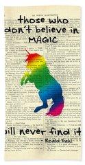 Unicorn Rainbow - Magical Quote Bath Towel