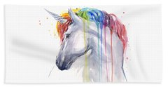 Unicorn Rainbow Watercolor Hand Towel by Olga Shvartsur
