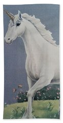 Unicorn Roaming The Grass And Flowers Bath Towel