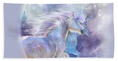Hand Towel featuring the mixed media Unicorn Soulmates by Carol Cavalaris