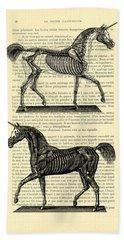 Unicorns Anatomy Hand Towel by Madame Memento