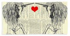 Unicorns Love Hand Towel by Madame Memento