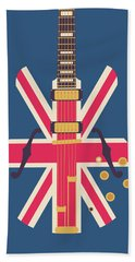 Union Jack Guitar - Original Blue Hand Towel