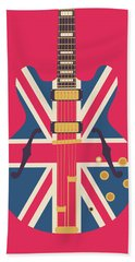 Union Jack Guitar - Original Red Hand Towel