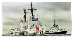 United States Coast Guard Boutwell Hand Towel by James Williamson