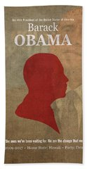 United States Of America President Barack Obama Facts Portrait And Quote Poster Series Number 44 Hand Towel