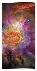 Bath Towel featuring the mixed media Universe Within A Rose by Carol Cavalaris