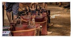 Unloading Mules At Phantom Ranch Bath Towel