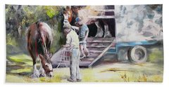 Hand Towel featuring the painting Unloading The Clydesdales by Ryn Shell