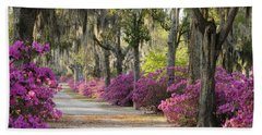 Unpaved Road With Azaleas And Oaks Hand Towel