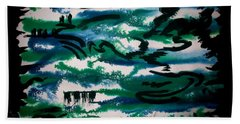 Hand Towel featuring the painting Black River by Tamal Sen Sharma