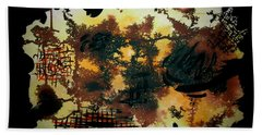Hand Towel featuring the painting Dry Forest by Tamal Sen Sharma