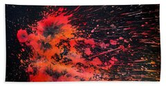 Hand Towel featuring the painting Floral Vs Fire by Tamal Sen Sharma