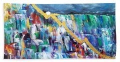 Hand Towel featuring the painting Untitled by Judith Rhue