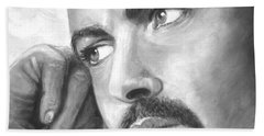 Hand Towel featuring the painting  Up Close George Michael  Black White by Patrice Torrillo