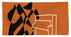 Upright Piano In Orange Bath Towel